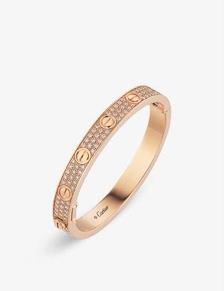 Cartier LOVE 18ct rose-gold and diamond pavé bracelet