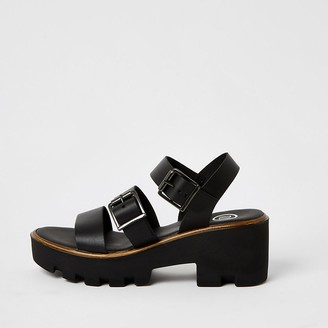 River Island Black buckle strap chunky sandals