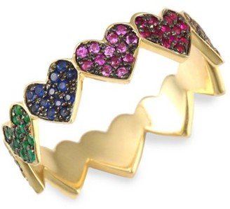 Sydney Evan Rainbow Heart Eternity Multi-Color Sapphires & 14K Yellow Gold Ring