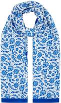 Max Mara Printed Silk Stole, Blue, One Size