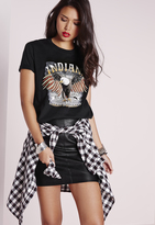 Missguided Indiana Graphic T Shirt Black