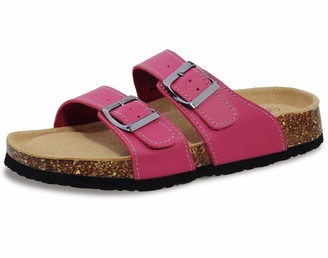 Shoeslocker Womens Slides Sandals Cork Footbed Adjustable Double Buckle Flat Sandals Rose Red Size 9
