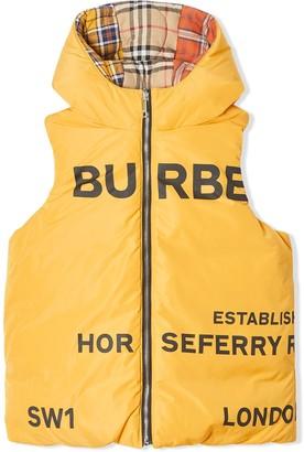 BURBERRY KIDS reversible Horseferry print gilet