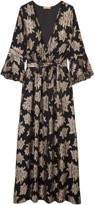 Melissa Odabash Stone Wrap-effect Metallic Fil Coupe Chiffon Maxi Dress
