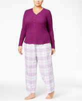 Alfani Plus Size Ribbed Henley Pajama Top, Only at Macy's
