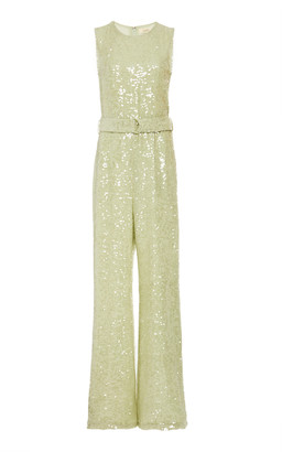 Sally LaPointe Sequin Viscose Sleeveless Crewneck Belted Jumpsuit