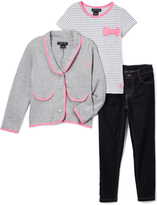 U.S. Polo Assn. Heather Gray & Pink Blazer Tee & Jeans - Girls
