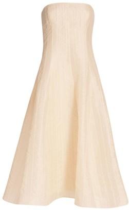 Ralph Lauren Fern Strapless Ruched Organza Evening Dress