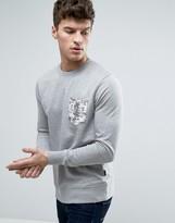 Jack and Jones Originals Crew Neck Sweatshirt with Printed Pocket