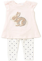 Starting Out Baby Girls 3-24 Months Flutter-Sleeve Rabbit Top & Dotted Leggings Set