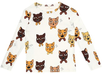 Mini Rodini Cat Choir printed cotton top