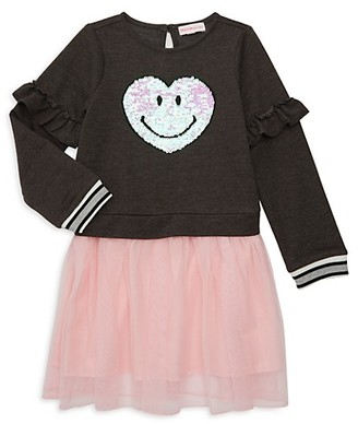 Design History Little Girl's Embellished Sweatshirt Tulle Skirt Twofer Dress