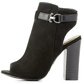 Charlotte Russe Bamboo Peep Toe Belted Ankle Booties