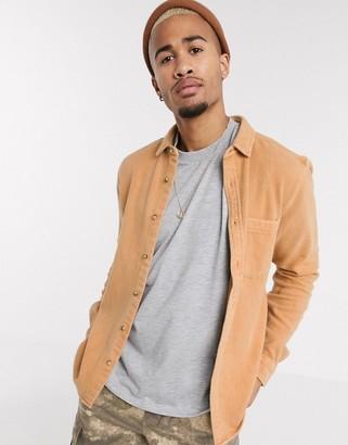 ASOS DESIGN brushed flannel overshirt in tan