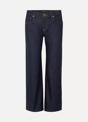 KHAITE Wendell Cropped High-rise Wide-leg Jeans - Indigo