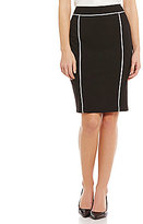 Calvin Klein Luxe Stretch Suiting Pipe Trim Pencil Skirt
