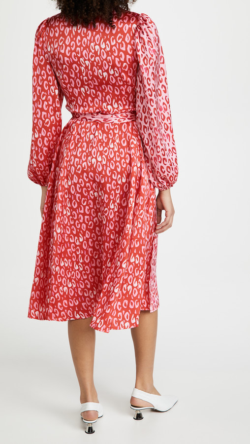 Thumbnail for your product : NEVER FULLY DRESSED Long Sleeve Pink & Red Leopard Wrap Dress