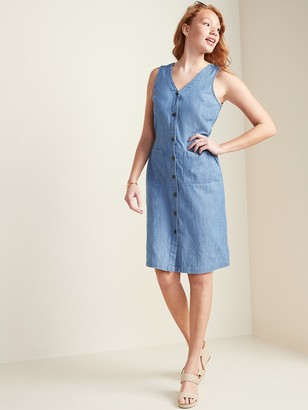 Old Navy Sleeveless Fit & Flare Chambray Button-Front Dress for Women