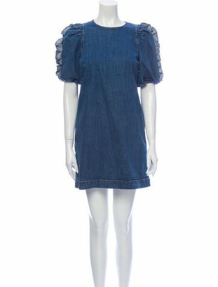 Ulla Johnson Crew Neck Mini Dress Blue