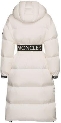 Moncler Tiam Nylon Down Coat W/ Logo Belt