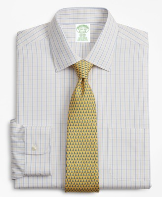 Brooks Brothers Milano Slim-Fit Dress Shirt, Non-Iron Grid Check