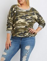Charlotte Russe Plus Size Camo Cropped French Terry Tee