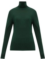 Burberry Logo-embroidered Roll-neck Cashmere-blend Sweater - Womens - Dark Green