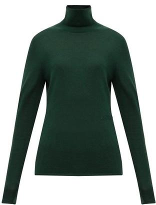 Burberry Logo-embroidered Roll-neck Cashmere-blend Sweater - Dark Green