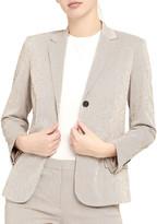 Theory Shrunken Two-Button Stretch Seersucker Jacket