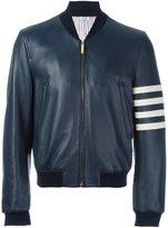 Thom Browne stripe sleeve detail jacket - men - Silk/Deer Skin - 1
