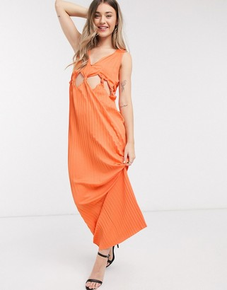 ASOS DESIGN knot waist plunge pleated maxi dress in orange