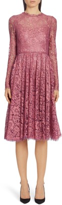 Dolce & Gabbana Lame Long Sleeve Chantilly Lace Dress