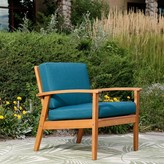 Buecker Deep Seat Patio Chair with Cushions Highland Dunes Frame Finish: Natural Oil, Cushion Color: Dark Green