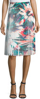 Nicole Miller Pleated Floral-Print Skirt, White Multi