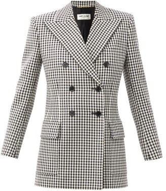 Saint Laurent Double-breasted Shepherd-check Wool Blazer - Black White