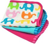 Bed Bath & Beyond iPlay.® Brights 3-Pack Organic Cotton Terry Washcloths in Elephant/Fuchsia and Blue