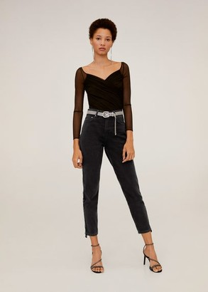 MANGO Mom-fit jeans side band black denim - 1 - Women
