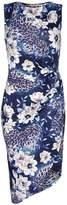 Yumi Blue Floral Print Gathered Dress