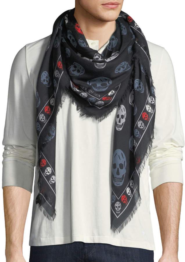 Alexander McQueen Men's McQueen Silk Skull Scarf