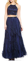 Teeze Me Sequin Lace Top to Corkscrew Skirt Two-Piece Long Dress