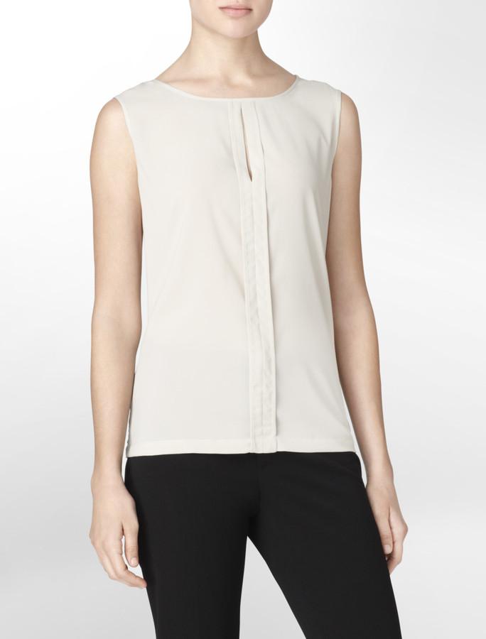 Calvin Klein Classic Khaki Pleat Detail Sleeveless Blouse