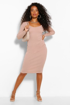 boohoo Petite Scoop Neck Rib Midi Dress