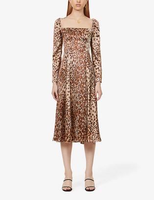 Reformation Maryanne leopard-print silk-satin midi dress