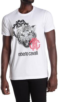 Roberto Cavalli Tiger Graphic Crew Neck T-Shirt