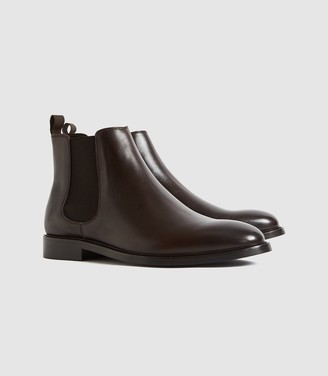 Reiss Tenor - Leather Chelsea Boots in Dark Brown