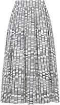 Peserico Printed A-Line Skirt, Navy, UK 14