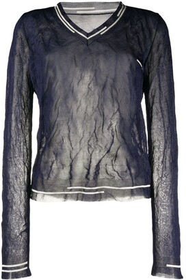 Maison Margiela sheer V-neck jumper