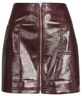 Topshop Cracked vinyl zip mini skirt