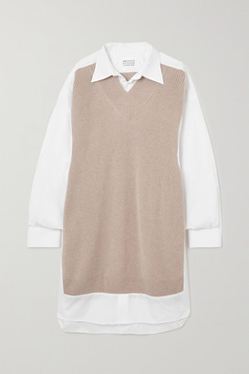 Maison Margiela Ribbed Wool And Cotton-poplin Shirt Dress - Beige