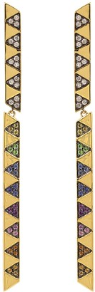 Harwell Godfrey Rainbow Sapphire and Diamond Articulated Stick Earrings